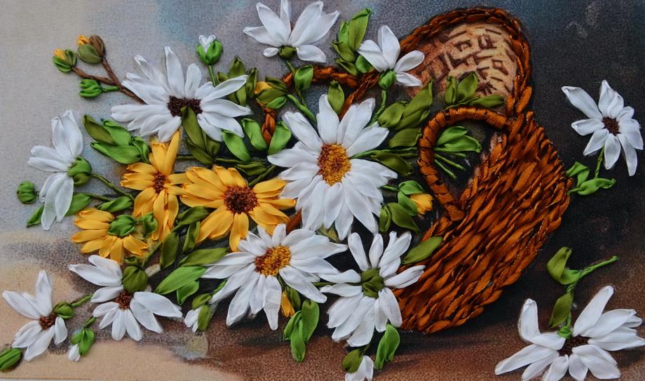 Вышивка лентами цветы в корзине фото 6